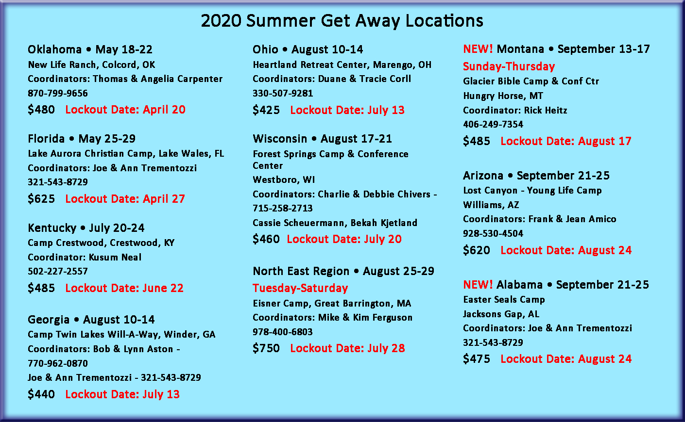 2020 Summer Get Away Dates and Locations